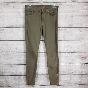 Mother The Looker Ankle Zip Skinny Jeans Olive 27